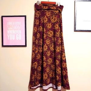 Floral maroon maxi skirt goldenrod rose hydrangea